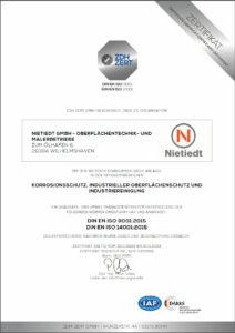 Zertifikat DIN EN ISO 9001:2015 und DIN EN ISO 14001:2015 für Korrosionsschutz, Industrieller Oberflächenschutz und Industriereinigung