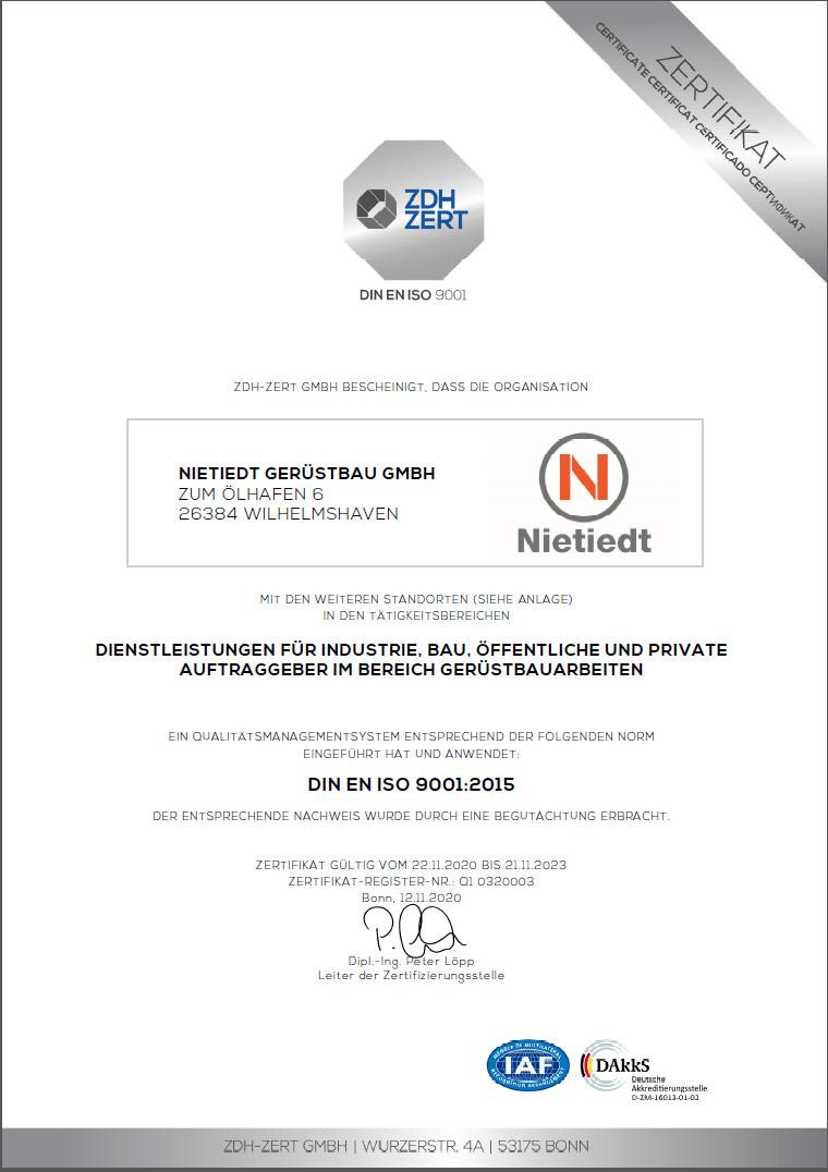 Gerüstbau 9001-2015 Zertifikat ZDH