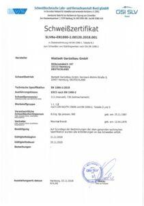 Schweißzertifikat EN 1090