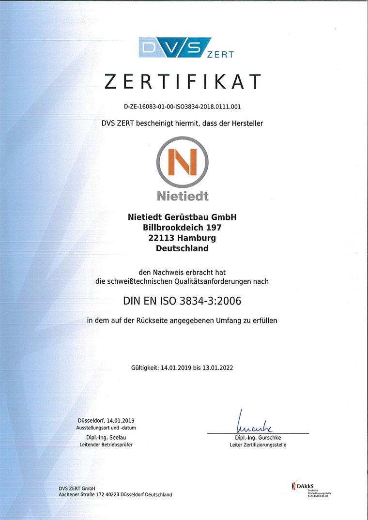 Zertifikat DIN-EN-ISO-3834-3-2006