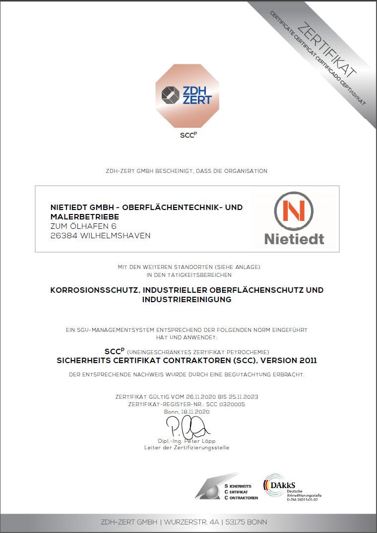 SCC(P) Zertifikat ZDH (deutsch) gültig bis 25.11.2023