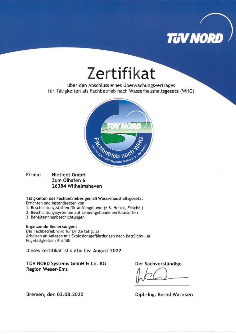 TÜV-Nord Zertifikat Fachbetrieb nach Wasserhaushaltsgesetz