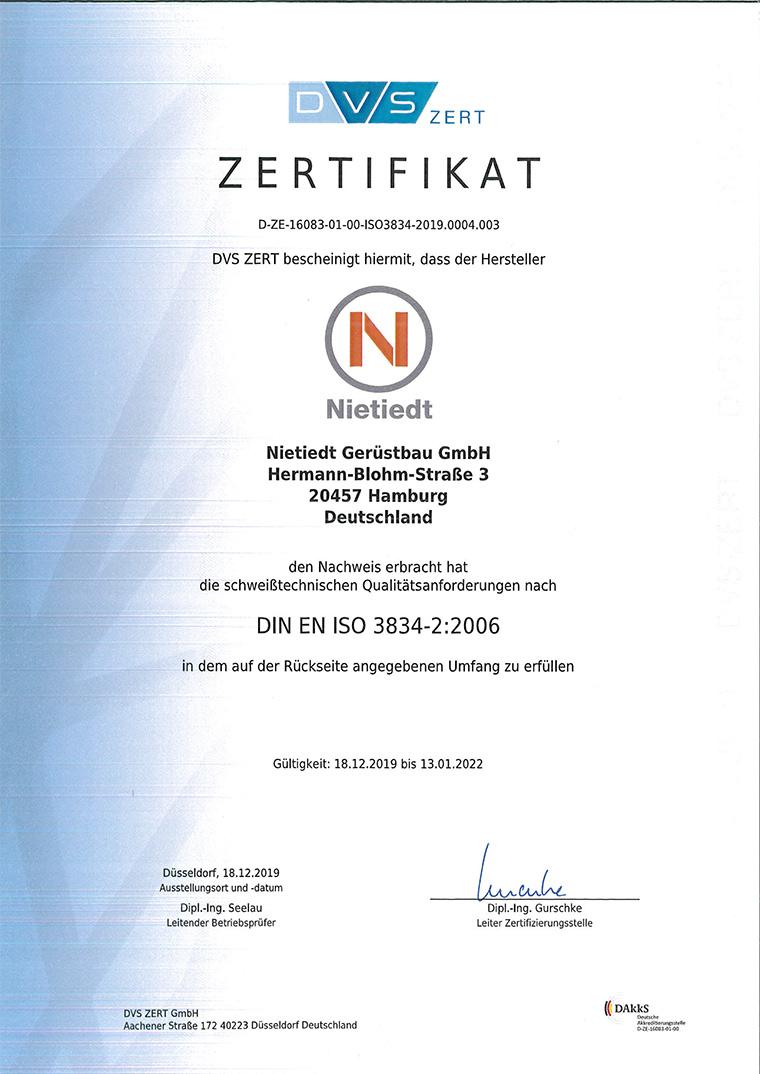 Zertifikat DIN EN ISO 3834-3-2006 für Nietiedt Gerüstbau GmbH (NL Hermann-Ehlers-Straße, Hamburg)