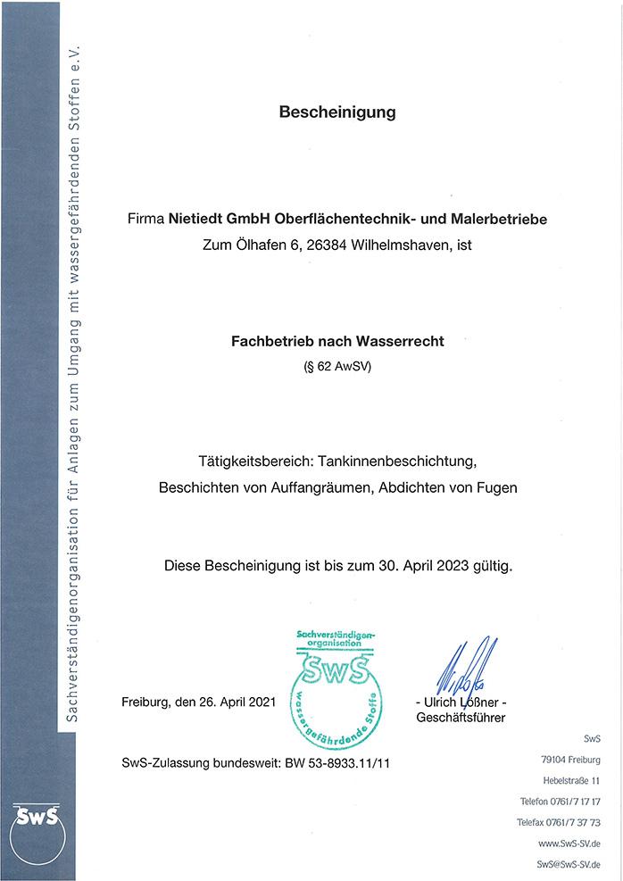Fachbetrieb nach Wasserrecht im Bereich Tankinnenbeschichtung, Fugenabdichtung und Beschichtung von Auffangräumen