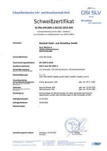Schweißzertifikat EN 1090-2:2018