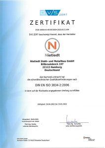 Zertifikat DIN EN-ISO-3834-3-2006