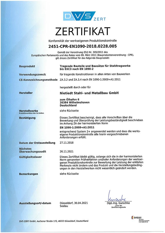 Zertifikat EN1090-3-2018