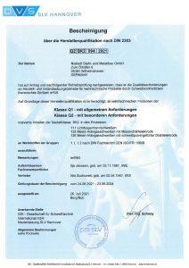 Bescheinigung über die Herstellerqualifikation nach DIN 2303