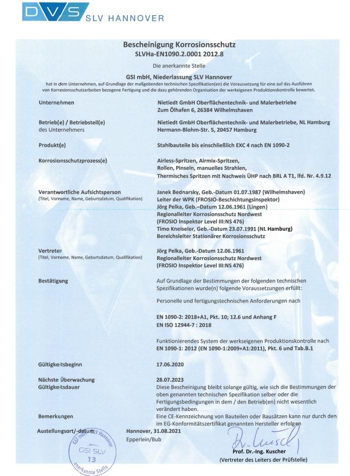 Bescheinigung Korrosionsschutz SLVHa-EN1090.2.0001 2012.8